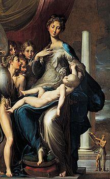 """Parmigianino, """"Madonna dal collo lungo"""", 1534-39 ca. Firenze, Galleria degli Uffizi."""